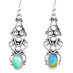 2.92cts natural multi color ethiopian opal 925 sterling silver earrings p25703