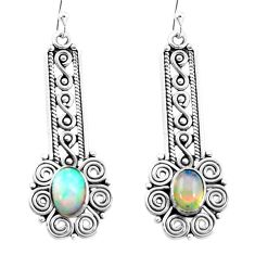 3.32cts natural multi color ethiopian opal 925 sterling silver earrings p25707