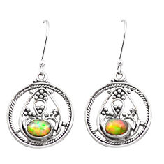 3.51cts natural multi color ethiopian opal 925 sterling silver earrings p25712