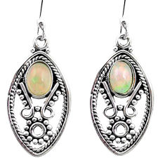 3.42cts natural multi color ethiopian opal 925 sterling silver earrings p25715