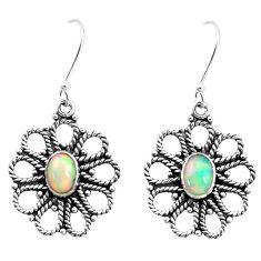 3.28cts natural multi color ethiopian opal 925 silver dangle earrings p25721