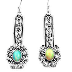3.53cts natural multi color ethiopian opal 925 silver dangle earrings p25722