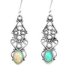 925 silver 3.50cts natural multi color ethiopian opal dangle earrings p25724