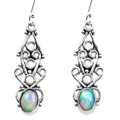 3.62cts natural multi color ethiopian opal 925 silver dangle earrings p25725