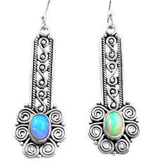 3.38cts natural multi color ethiopian opal 925 silver dangle earrings p25726