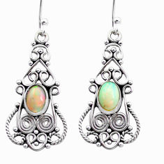 3.19cts natural multi color ethiopian opal 925 silver dangle earrings p25727
