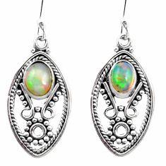 925 silver 2.97cts natural multi color ethiopian opal dangle earrings p25728