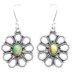 3.51cts natural multi color ethiopian opal 925 silver dangle earrings p25729