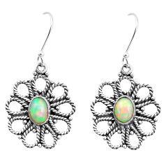 3.68cts natural multi color ethiopian opal 925 silver dangle earrings p25731