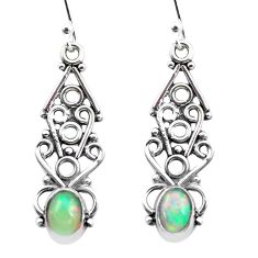 925 silver 3.50cts natural multi color ethiopian opal dangle earrings p25732