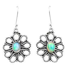 3.16cts natural multi color ethiopian opal 925 silver dangle earrings p25733