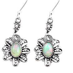 3.52cts natural multi color ethiopian opal 925 silver dangle earrings p25735
