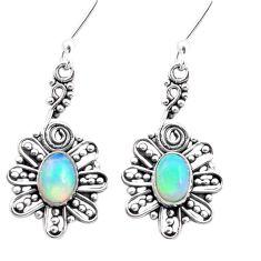 3.35cts natural multi color ethiopian opal 925 silver dangle earrings p25736