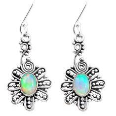 925 silver 3.02cts natural multi color ethiopian opal dangle earrings p25737