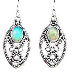 3.61cts natural multi color ethiopian opal 925 silver dangle earrings p25738