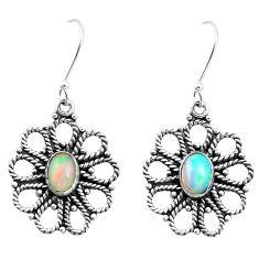 3.29cts natural multi color ethiopian opal 925 silver dangle earrings p25739