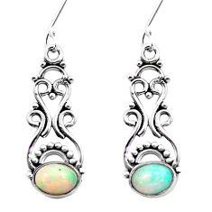 925 silver 3.26cts natural multi color ethiopian opal dangle earrings p25740