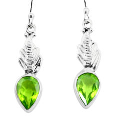 4.67cts natural green peridot 925 sterling silver dangle earrings jewelry p25742