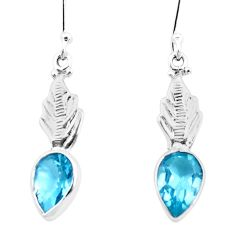 4.82cts natural blue topaz 925 sterling silver dangle earrings jewelry p25745