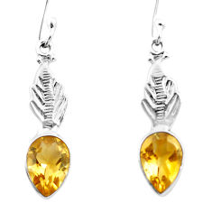 925 sterling silver 4.82cts natural yellow citrine dangle earrings p25747
