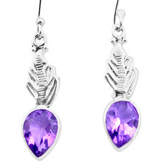 4.58cts natural purple amethyst 925 sterling silver dangle earrings p25758