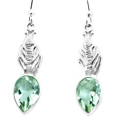 925 sterling silver 5.11cts natural green amethyst dangle earrings p25760