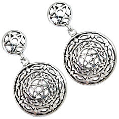 Indonesian bali style solid 925 silver dangle david of star earrings p2585