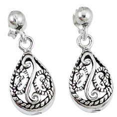 Indonesian bali style solid 925 solid silver dangle pear earrings p2611