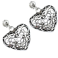 Indonesian bali style solid 925 sterling silver dangle heart earrings p2630