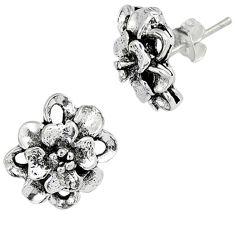 Indonesian bali style solid 925 sterling silver stud flower earrings p2635