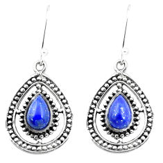 5.12cts natural blue lapis lazuli 925 sterling silver dangle earrings p26383