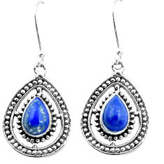 4.73cts natural blue lapis lazuli 925 sterling silver dangle earrings p26385