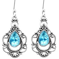 4.93cts natural blue topaz 925 sterling silver dangle earrings jewelry p26391