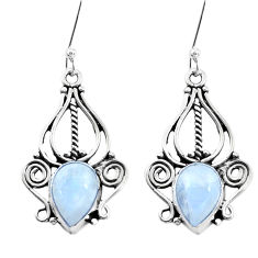 925 sterling silver 5.13cts natural rainbow moonstone dangle earrings p26393