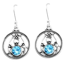 2.93cts natural blue topaz 925 sterling silver dangle earrings jewelry p26409