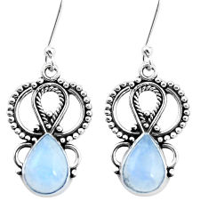 925 sterling silver 5.53cts natural rainbow moonstone dangle earrings p26414