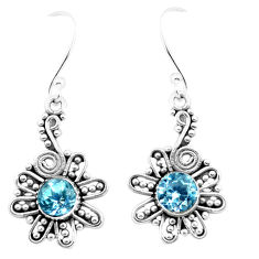 2.72cts natural blue topaz 925 sterling silver dangle earrings jewelry p26428