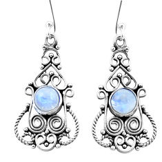 925 sterling silver 3.36cts natural rainbow moonstone dangle earrings p26438