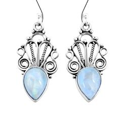 5.87cts natural rainbow moonstone 925 sterling silver dangle earrings p26440
