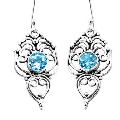 3.19cts natural blue topaz 925 sterling silver dangle earrings jewelry p26450