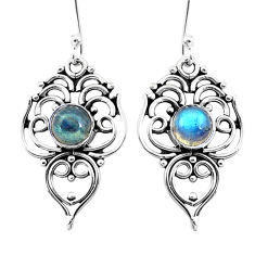 2.98cts natural blue labradorite 925 sterling silver dangle earrings p26456