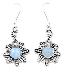 2.81cts natural rainbow moonstone 925 sterling silver dangle earrings p26458