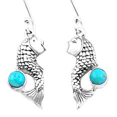 1.65cts green arizona mohave turquoise 925 sterling silver fish earrings p26463