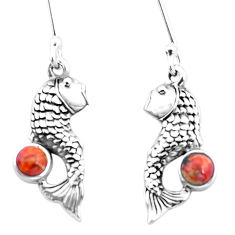 1.36cts red copper turquoise 925 sterling silver fish earrings jewelry p26467