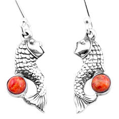 925 sterling silver 1.75cts red copper turquoise fish earrings jewelry p26468