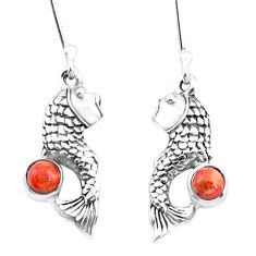 1.64cts red copper turquoise 925 sterling silver fish earrings jewelry p26469