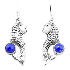1.65cts natural blue lapis lazuli 925 sterling silver fish earrings p26473