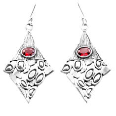 3.35cts natural red garnet 925 sterling silver dangle earrings jewelry p26481