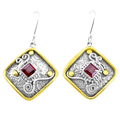 925 silver 4.61cts victorian natural red garnet two tone dangle earrings p26604