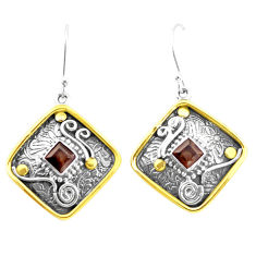4.49cts victorian brown smoky topaz 925 silver two tone dangle earrings p26608